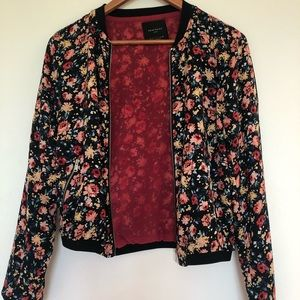 Zara floral print bomber jacket with zip, size S